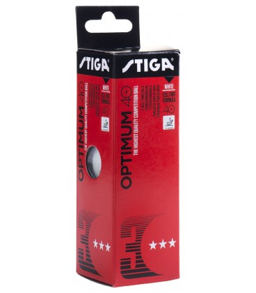3 STIGA OPTIMUM PLASTIQUE 40+ - BALLES TENNIS DE TABLE