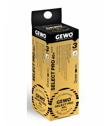3 BALLES TENNIS DE TABLE DE COMPETITION GEWO SELECT PRO 40+